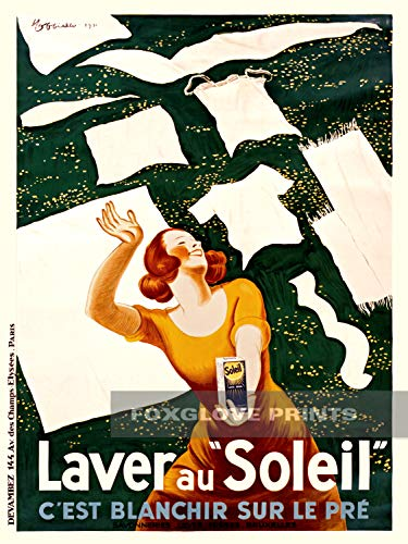 Foxglove Prints Laver au Soleil French Laundry Soap Advertisement - Vintage Leonetto Cappiello Advertising Poster Art Print, 12x16 inches