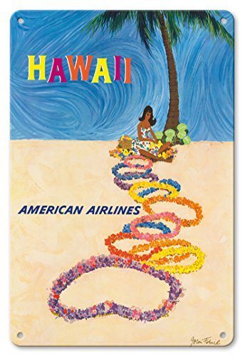 Pacifica Island Art 8in x 12in Vintage Tin Sign - Hawaii - American Airlines - Native Hawaiian Girl Making Leis by John A. Fernie