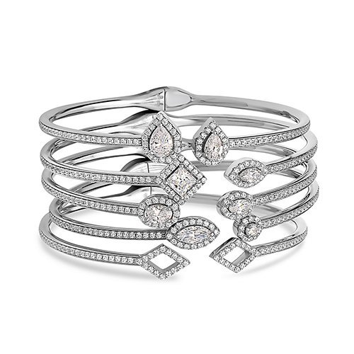Crush & Fancy Pavè Crystal Bangle Bracelet | 925 Sterling Silver Bangle Bracelet with Crystals | Crystal Bangle with Teardrop Centers | Perfect for Stacking Bangles (CLEO) by Crush & Fancy (Image #2)