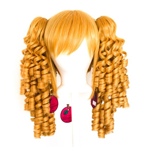 Momo   Butterscotch Blonde Blend Wig 18 Ringlet Curly Pig Tails   12 Bob Cut Base Wig Set
