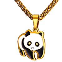 U7 Stainless Steel Cute Panda Bear Pendant Necklace in Gift Box