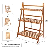 Ufine Bamboo Ladder Plant Stand 3 Tier Foldable