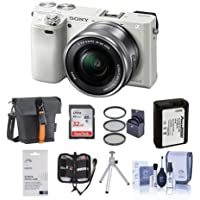 Sony Alpha A6000 Mirrorless Digital Camera with 16-50mm E-Mount Lens, White - BUNDLE with Camera Bag, 32GB Class 10 SDHC Card, Spare Battery, Tripod, 40.5mm Filter Kit, Cleaning Kit, Card Case