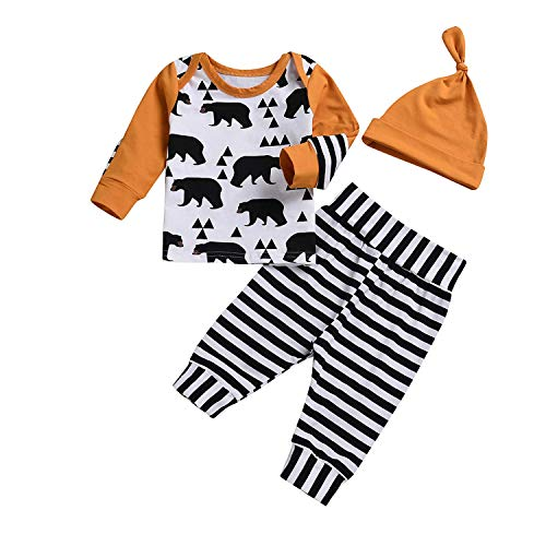 Zukuco Baby Girl Boy Clothes Bear Triangle Print Hoodie Stripe Pants Hat Outfit Set(6-12 Months, Orange) ()