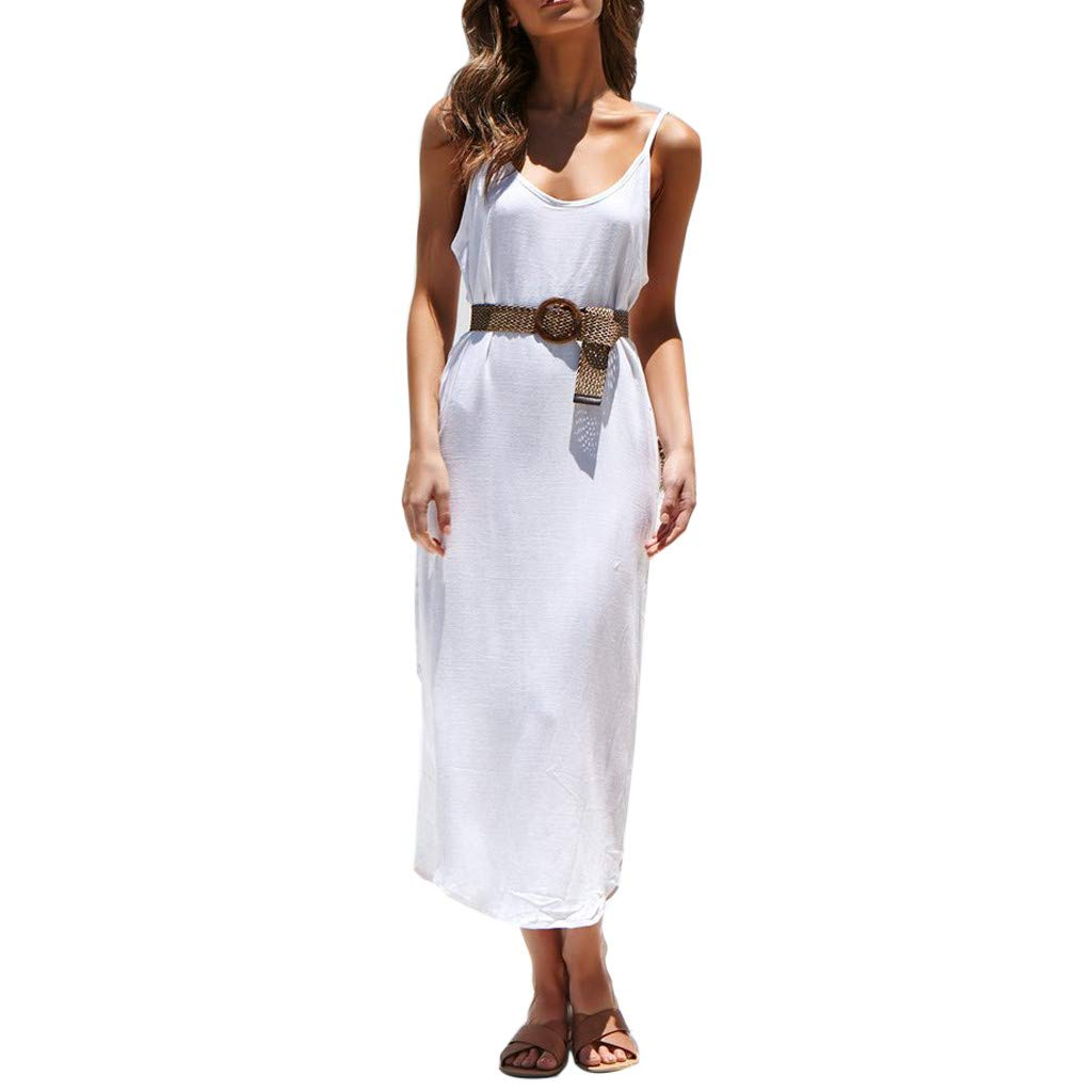 KIMODO Damen Kleider Einfarbig V-Ausschnitt Maxi Kleider Boho Sommerkleid Ärmellos Sommer Strandklei