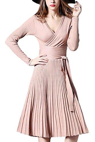 Midi Mujeres Elegante Fasumava Punto De Otoño Plisada Larga Albaricoque Manga Vestido Las De Vestidos De UwqqHOB