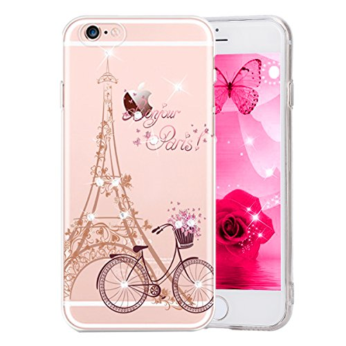 Price comparison product image iPhone 6 Plus / 6S Plus Case, PHEZEN Beauty Butterfly Floral Flower Glitter Bling Crystal Rhinestone Diamond Clear TPU Bumper Soft Silicone Rubber Skin Back Case Cover for iPhone 6 / 6S Plus,  Flower 1