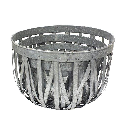 Stonebriar Large Round 3pc Galvanized Metal Basket Set