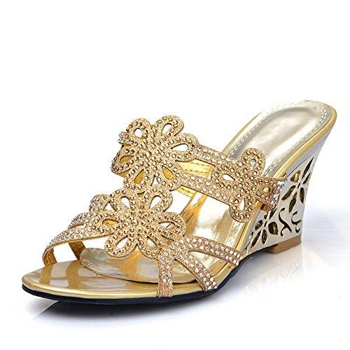 Sin Gold Cuero Puntera cordones Chanclas Sólido Abierta Mujeres Plataforma AllhqFashion 4gnTzwHtxx