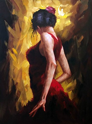 100% Hand Painted Oil Painting on Canvas Wall Art, Dance Figurative Spainish Spain Music Model Fashion Bar Cafe Food Art Oil Painting by Generic