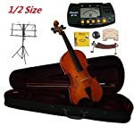 Merano-12-Size-Student-Violin-with-Case-and-BowExtra-Set-of-Strings-Extra-Bridge-Shoulder-Rest-Rosin-Metro-Tuner-Black-Music-Stand-Rubber-Mute