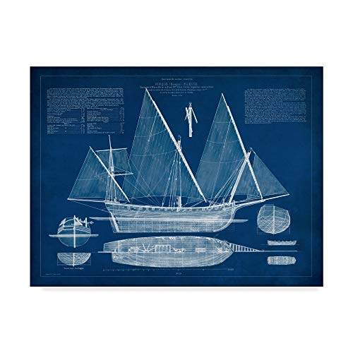 (Trademark Fine Art Antique Ship Blueprint III by Vision Studio, 18x24-Inch 18x24)