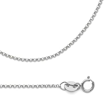 b108b439fa97 Amazon.com  Solid 14k White Gold Chain Rolo Cable Necklace Angle Diamond Cut  Link Polished Style 1.2 mm 16 inch  Jewelry