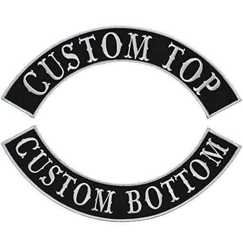 Custom Biker Vest Patch - Top and Bottom Arch Style Tab and Rocker - Sew On