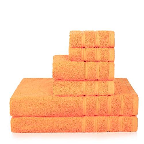 Promic 100 Cotton Bath Towel Set 6 Piece Includes 2 Bath Towels 2