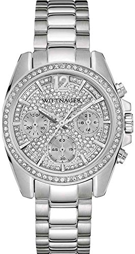 Wittnauer Ladies Stainless Steel Chronograph Silver Tone Crystal Adorned Watch (Watch Silver Wittnauer Wrist)
