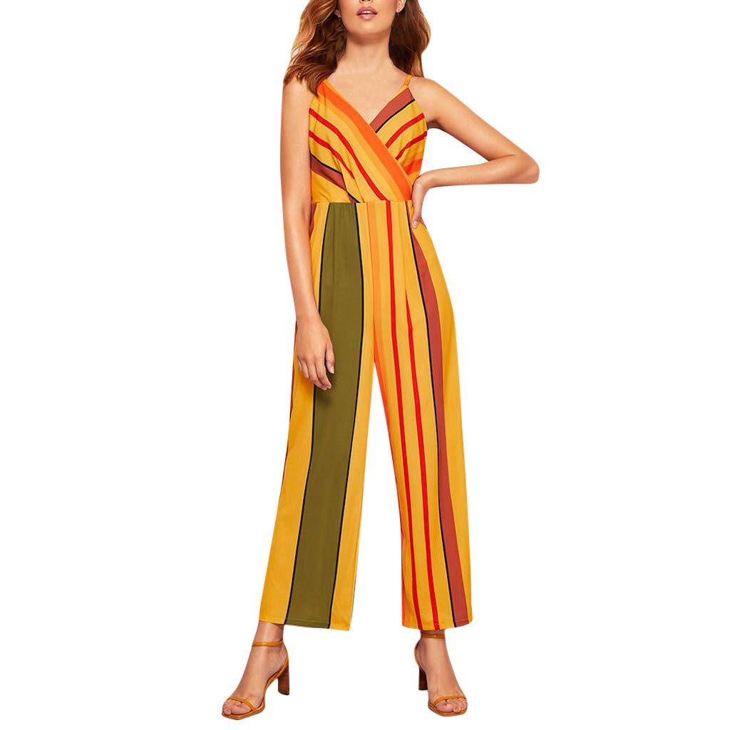 Ximandi Women's Cute Multicolor Striped Sling V-Neck Sleeveless Casual Wide Leg Jumpsuit Rompers