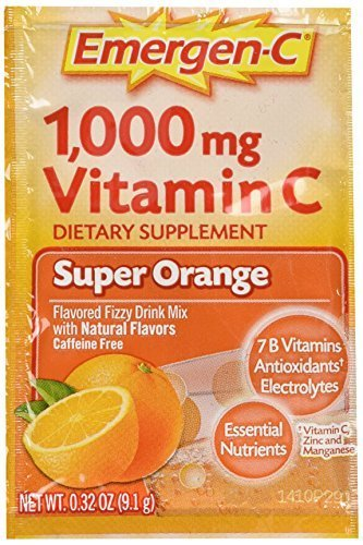 Alacer Flavored Vitamins - Emergen-C Vitamin C Flavored Fizzy Drink Mix Packets, Super Orange 30 ea ( Pack of 2)