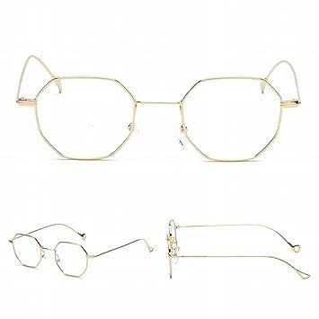 Achteckige Kleine Rahmen Metall Gläser Rahmen Marine Linse Transparente Sonnenbrille Mit Myopie Goldrahmen Flacher Spiegel aebvf75Va