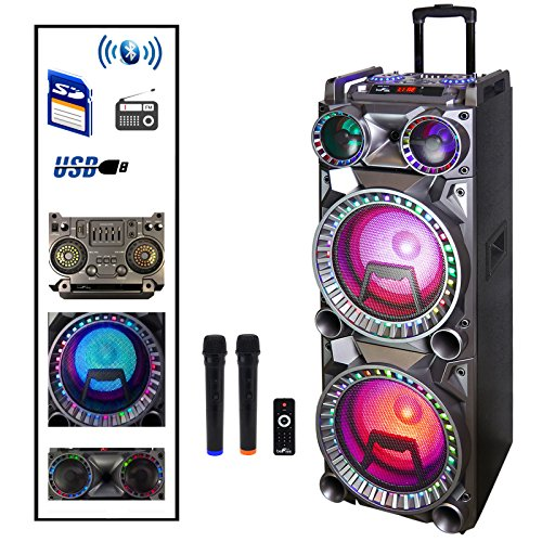 Befree Sound Dual 10 Inch Subwoofer Bluetooth Portable Party Speaker with Sound Reactive Party Lights, USB/SD Input, Rechargeable Battery, Remote Control and 2 Wireless (Portable Subwoofers)