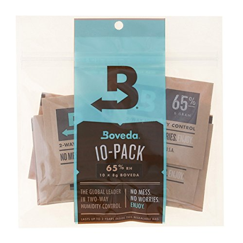 (Boveda 65% RH 8 Gram, patented 2-Way Humidity Control, (1) 10-Pack, Unwrapped Boveda, Resealable Bag; Up to 10 cigars; perfect for Cubans, cigars with oilier wrappers like Opus X or a broadleaf Maduro)