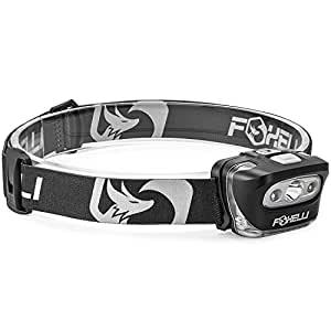 Foxelli Headlamp Flashlight - Bright 165 Lumen White Cree Led + Red Light, Perfect for Runners, Lightweight, Waterproof (IPX5), Best Headlight for Kids, 3 AAA Batteries Included,