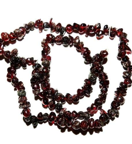 (NG1642 Dark Red Garnet Mini-Nugget 3mm - 5mm Gemstone Chip Beads 15'' Crafting Key Chain Bracelet Necklace Jewelry Accessories Pendants)