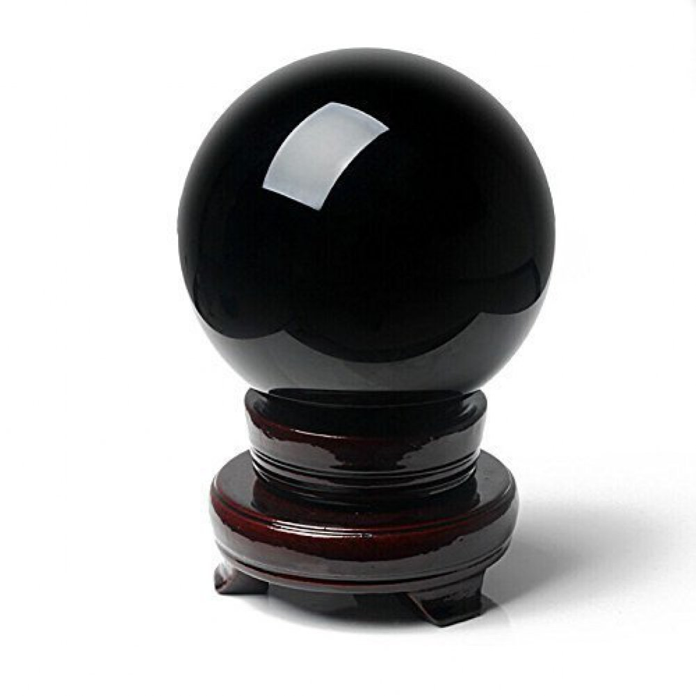 Amlong Crystal 2 inch (50mm) Natural Black Divination Sphere Crystal Ball with Stand by Amlong Crystal