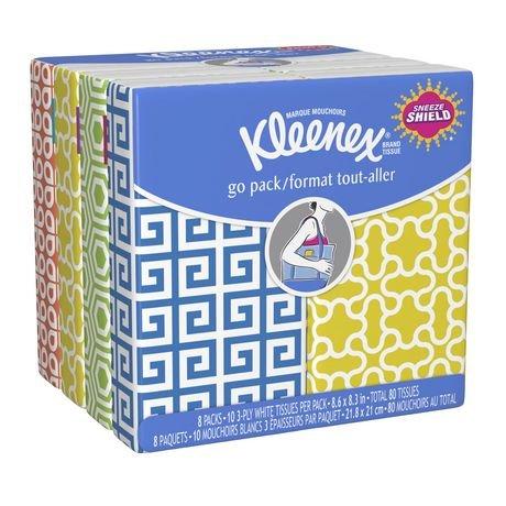 Kleenex Facial Tissue Pocket Packs, 3-Ply, White (Pack of 36)