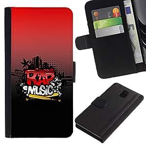 Planetar® Modelo colorido cuero carpeta tirón caso cubierta piel Holster Funda protección Para SAMSUNG Galaxy Note 3 III / N9000 / N9005 ( Rap Music )
