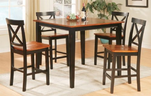 5 Piece Two-toned in a Cherry and Dark Oak Finish Dining Set by Poundex