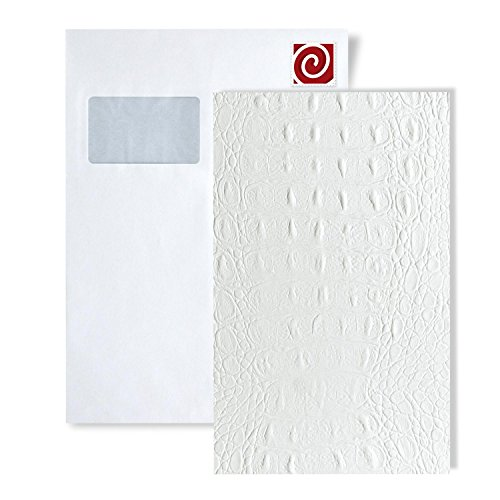 (1 Sample Piece S-13407 WallFace Croco White Leather Collection | Sample of Wall Panel in DIN A4 Size)
