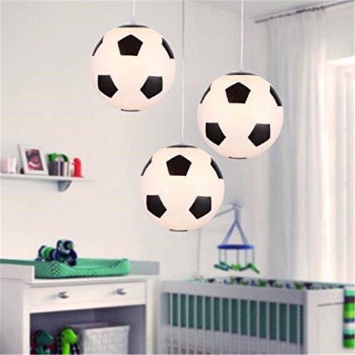 Childrens Light Pendant Glass (Mengzhu-Michelle Modern Minimalist Football Chandeliers 3 Head Creative LED Pendant Light for Children's Room Bedroom Dia 30 cm 110-240V Chandelier)