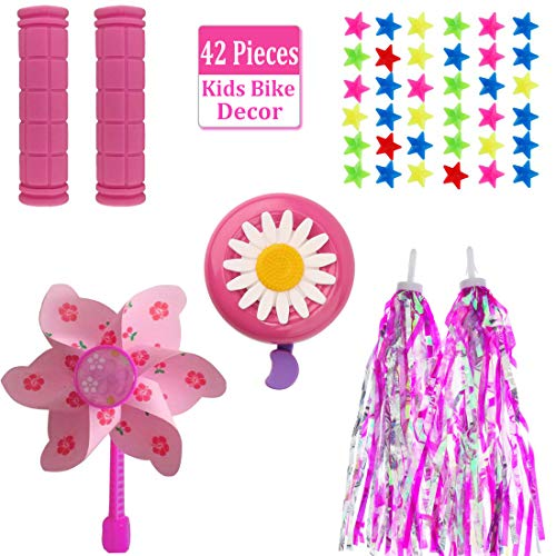 MeiMeiDa Bike Accessories for Kids Girls Bike Bicycle Decorations Including Pink Bike Handlebar Grips, Bike Streamers, Star Bike Wheel Spokes, Flower Bell and Pinwheel
