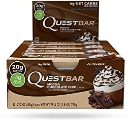 Quest Nutrition Mocha Protein Bar 12 Bars New Flavor MOCHA CHOCOLATE CHIP Coffee Cookie Crumbles Chocolate Chips