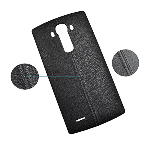 Dogxiong Black Genuine Leather Back Rear Housing Battery Door Cover Case Replacement for for LG G4 H815 H811 H810 VS986 VS999 US991 F500 LS991