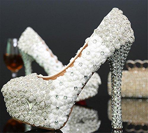 En Femme De Chaussures De Chaussures MNII Demoiselle Perle Plate Princesse Dames Robes Strass bonne MariéE De Talons D'Honneur qua Hauts FêTe Brillantes Dentelle De Designer Stiletto Forme color Pierres De Ixv7wqv0P