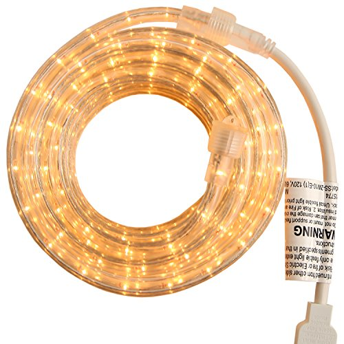(PERSIK Rope Light Indoor Outdoor - 18 Feet, 216 Clear Incandescent Rope Lights)