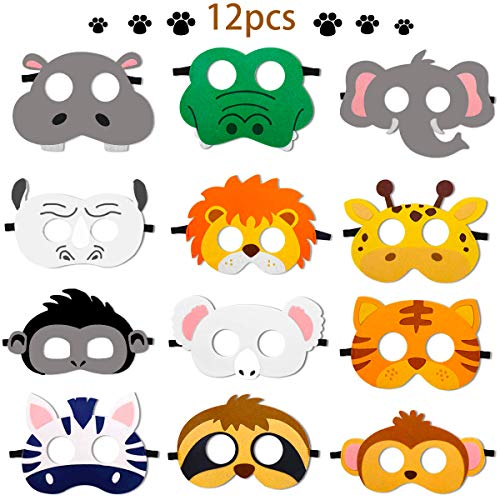 12 Pcs Animal Felt Masks Jungle Safari Theme Party Favors Kids Costumes Dress-Up Party Supplies
