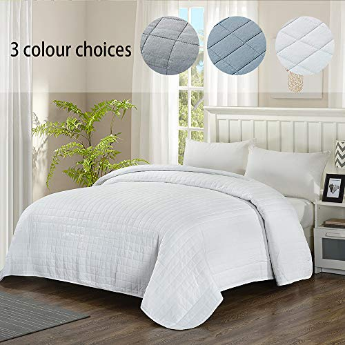 Simple&Opulence Washed Super Soft Microfiber Quilt Bedspread (Queen, White)