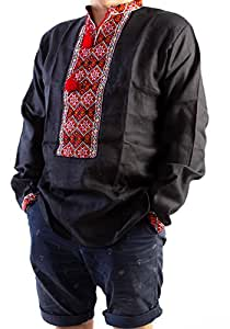 Handmade Black Vyshyvanka Mens Linen Shirt HUTSUL Embroidered 3XL