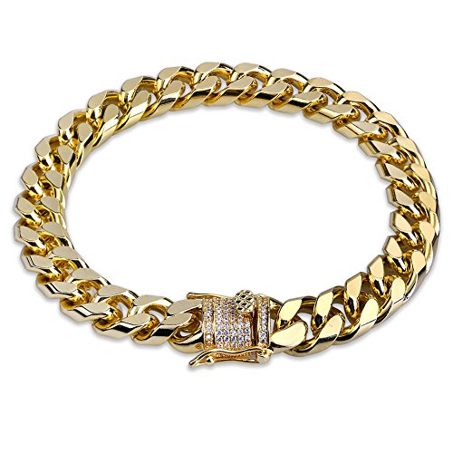 TOPGRILLZ Hip Hop14K Gold Plated Finished Miami Cuban Link Chain Bracelet with Iced out Simulated Lab Diamond Clasp for Men (Hip Hop Chain Bracelet)