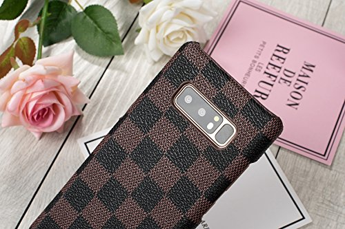 HeiL NOTE8 TPU (Fast US Deliver Guarantee Fulfilled by Amazon) New Elegant Luxury PU Leather Monogram Pattern Classic Style Cover Case for Samsung Galaxy Note 8 ONLY (Brown TPU)