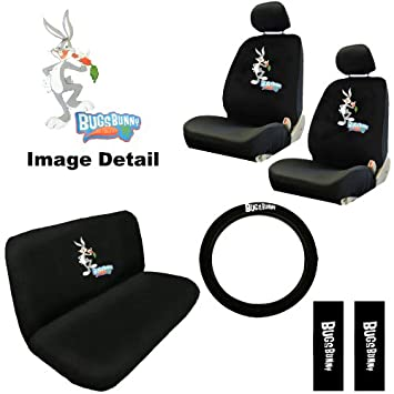 11pc Bugs Bunny Rabbit Looney Tunes Low Back Seat Covers with Head Rest Covers, Bench