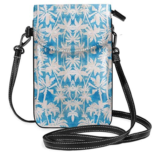 (TYTland Palm Trees Blue Leather Cell Phone Purse Wallet Small Crossbody Bags)