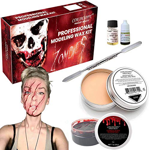 (COKOHAPPY Halloween Party Stage Special Effects Wound Scar Nude Color Putty/Wax (1.76oz) + Fake Scab Blood (0.7oz) + Oil (0.17oz) + Spirit Gum Adhesive + Spatula Tool Family Makeup)