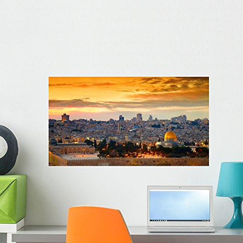 Wallmonkeys FOT-79508677-24 WM362578 Panorama of Jerusalem Old City Israel Peel and Stick Wall Decals (24 in W x 13 in H), Medium