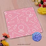 VROSELV Custom Cotton Microfiber Ultra Soft Hand Towel-seamless pattern of different lip make up tools vector illustration of lipsticks mirror lip Custom pattern of household products(14''x14'')