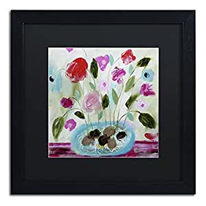 Trademark Fine Art Winter Blooms II by Carrie Schmitt Frame, 16 by 16-Inch, Black Matte