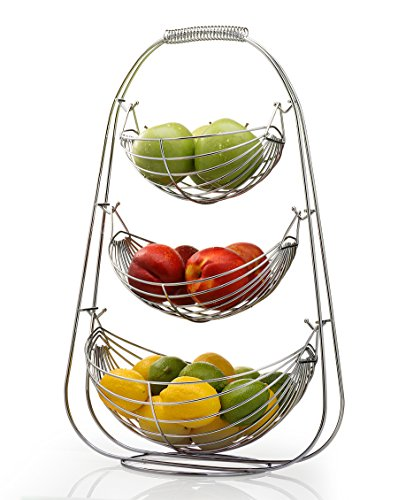Sagler 3 Tier Fruit basket - Stainless steel fruit bowl - large fruit bowl - useful for fruit storage basket